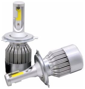 kripa guru enterprises GK-C6 Dual Colour Led Headlight Bulb 36w 3800lm COB H4 Light White And Yellow Light (Set of 2)