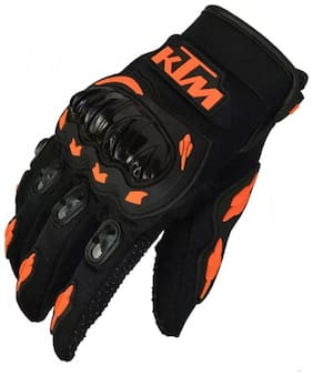 KTM Rider Safety Motosports Polyester Motocross Riding Gloves with Hard Knuckles for Men and Women