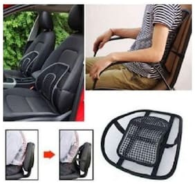 Kudos Car Seat Back Rest Lumber Support Accupressure Beads-Black