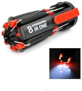 kudos Multi-screwdriver 8 in 1 Multi-function Screwdriver Kit, Tool Kit Set + 6 LED light Torch