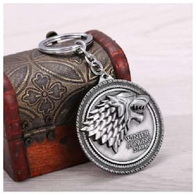 kudos Winter Coming Stark Metal Keychain (pack of 1) (silver)