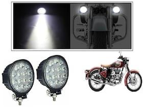 KunjZone 14 LED Circle 42 Watt Bike Auxillary CREE Fog Lamp Light Flood Light Bulb Offroad Motorcycle LED/ Aux Light (Set of 2) For Royal Enfield Classic 350