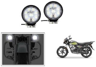 KunjZone 27 Watt Circle Bike Auxillary CREE Fog Lamp Light Flood Light Bulb Offroad Motorcycle LED Set Of 2 For Honda CD 110 Dream