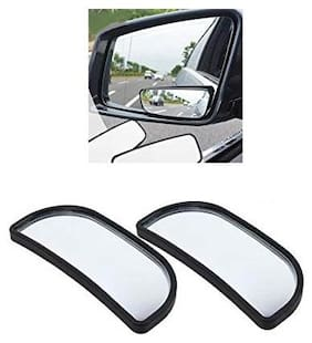 KunjZone 3R-066 Wide Rectangle Car Blind Spot Side Rear View Mirror For Mahindra Kuv 100 Black