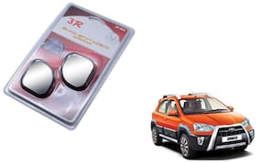 KunjZone 3R-065 Car Rear View Blind Spot Mirror Adjustable 360 Degree 2 Pcs Black For Toyota Etios Cross