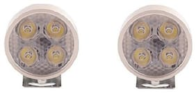 KunjZone 4 LED Small Round Auxiliary Bike Fog Lamp Light Assembly White Set of 2 For Bajaj Pulsar 135LS