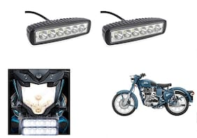 KunjZone 6 Led Bar Cree Auxillary Bike Fog Lamp 18W SET OF 2 For Royal Enfield Classic Squadron Blue