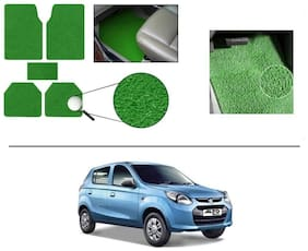 KunjZone Anti Slip Noodle Car Floor Mats Set of 5-Green For Maruti Suzuki Alto 800