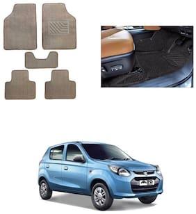 KunjZone Auto Carpet Beige Car Floor / Foot Mat Set of 5 For - Maruti Suzuki Alto 800
