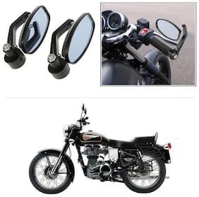 KunjZone Bike Handle Bar Rear View Mirror Rectangle Side Fancy Oval Mirror Set of 2 Black Royal Enfield Bullet 350
