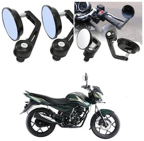 KunjZone Bike Handle Bar Rear View Mirror Rectangle Side Fancy Round Mirror Set of 2 Black Bajaj Discover 150 s