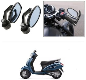 KunjZone Bike Handle Bar Rear View Mirror Rectangle Side Fancy Oval Mirror Set of 2 Black Honda Activa 3G