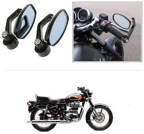 KunjZone Bike Handle Bar Rear View Mirror Rectangle Side Fancy Oval Mirror Set of 2 Black Royal Enfield Bullet 500
