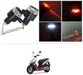 KunjZone Bike Handlebar Light Indicators with Laser Light Bar End Turn Signal Grip Weight Light Double Light (Red & White) For Yamaha Jog R