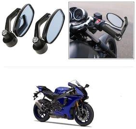 KunjZone Bike Handle Bar Rear View Mirror Rectangle Side Fancy Oval Mirror Set of 2 Black Yamaha YZF