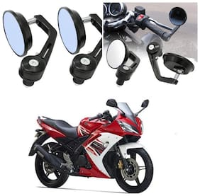 KunjZone Bike Handle Bar Rear View Mirror Rectangle Side Fancy Round Mirror Set of 2 Black Yamaha YZF R15 S