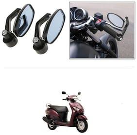 KunjZone Bike Handle Bar Rear View Mirror Rectangle Side Fancy Oval Mirror Set of 2 Black Yamaha Alpha