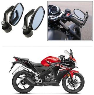 KunjZone Bike Handle Bar Rear View Mirror Rectangle Side Fancy Oval Mirror Set of 2 Black Honda CBR 150R