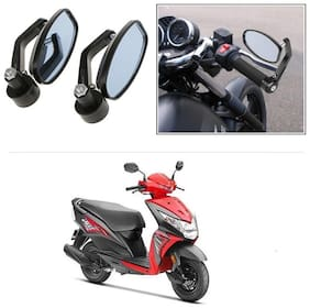 KunjZone Bike Handle Bar Rear View Mirror Rectangle Side Fancy Oval Mirror Set of 2 Black Honda Dio