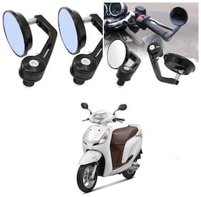 KunjZone Bike Handle Bar Rear View Mirror Rectangle Side Fancy Round Mirror Set of 2 Black Honda Aviator