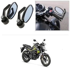 KunjZone Bike Handle Bar Rear View Mirror Rectangle Side Fancy Oval Mirror Set of 2 Black Honda CB Hornet 160