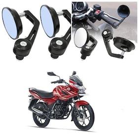 KunjZone Bike Handle Bar Rear View Mirror Rectangle Side Fancy Round Mirror Set of 2 Black Bajaj Discover 150 f