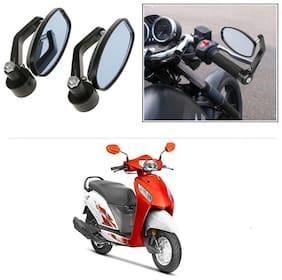 KunjZone Bike Handle Bar Rear View Mirror Rectangle Side Fancy Oval Mirror Set of 2 Black Honda Activa i