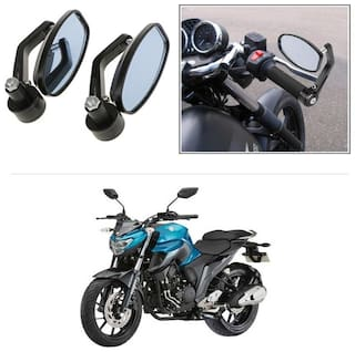 KunjZone Bike Handle Bar Rear View Mirror Rectangle Side Fancy Oval Mirror Set of 2 Black Yamaha FZ