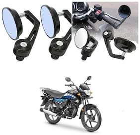 KunjZone Bike Handle Bar Rear View Mirror Rectangle Side Fancy Round Mirror Set of 2 Black Honda Dream Neo