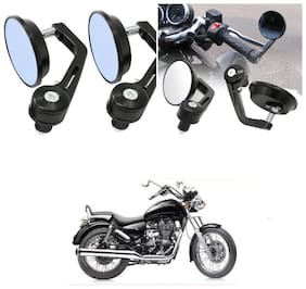 KunjZone Bike Handle Bar Rear View Mirror Rectangle Side Fancy Round Mirror Set of 2 Black Royal Enfield Thunderbird 500