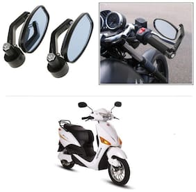 KunjZone Bike Handle Bar Rear View Mirror Rectangle Side Fancy Oval Mirror Set of 2 Black Hero Electric Optima