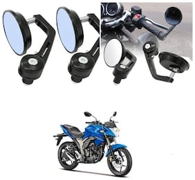 KunjZone Bike Handle Bar Rear View Mirror Rectangle Side Fancy Round Mirror Set of 2 Black Suzuki Gixxer