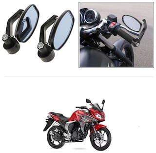 KunjZone Bike Handle Bar Rear View Mirror Rectangle Side Fancy Oval Mirror Set of 2 Black Yamaha Fazer