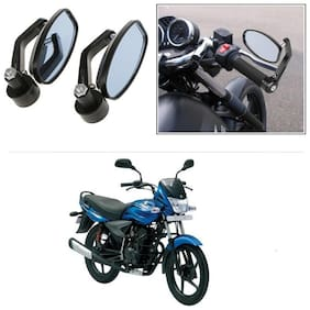 KunjZone Bike Handle Bar Rear View Mirror Rectangle Side Fancy Oval Mirror Set of 2 Black Bajaj Platina 100 DTS-i