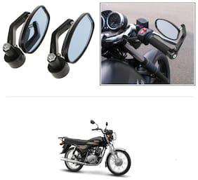KunjZone Bike Handle Bar Rear View Mirror Rectangle Side Fancy Oval Mirror Set of 2 Black Yamaha Crux