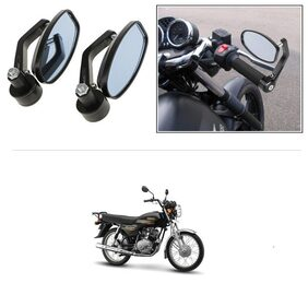 KunjZone Bike Handle Bar Rear View Mirror Rectangle Side Fancy Oval Mirror Set of 2 Black Yamaha Crux