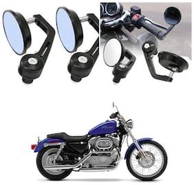 KunjZone Bike Handle Bar Rear View Mirror Rectangle Side Fancy Round Mirror Set of 2 Black Harley-Davidson XL 883