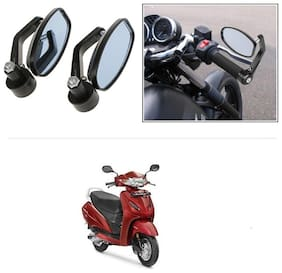 KunjZone Bike Handle Bar Rear View Mirror Rectangle Side Fancy Oval Mirror Set of 2 Black Honda Activa