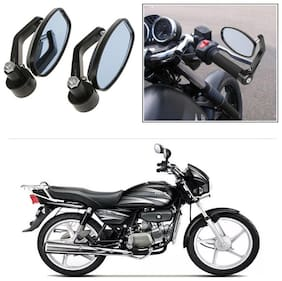 KunjZone Bike Handle Bar Rear View Mirror Rectangle Side Fancy Oval Mirror Set of 2 Black Hero Splendor Plus
