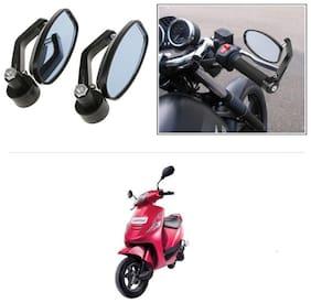 KunjZone Bike Handle Bar Rear View Mirror Rectangle Side Fancy Oval Mirror Set of 2 Black Mahindra Kine