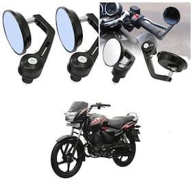 KunjZone Bike Handle Bar Rear View Mirror Rectangle Side Fancy Round Mirror Set of 2 Black TVS Star City