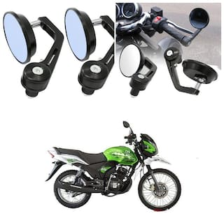 KunjZone Bike Handle Bar Rear View Mirror Rectangle Side Fancy Round Mirror Set of 2 Black Honda Unicorn Dazzler