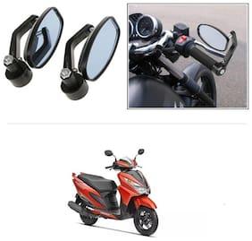 KunjZone Bike Handle Bar Rear View Mirror Rectangle Side Fancy Oval Mirror Set of 2 Black Honda Grazia