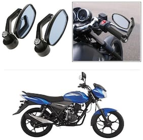 KunjZone Bike Handle Bar Rear View Mirror Rectangle Side Fancy Oval Mirror Set of 2 Black Bajaj Discover