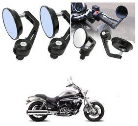 KunjZone Bike Handle Bar Rear View Mirror Rectangle Side Fancy Round Mirror Set of 2 Black DSK Hyosung  Aquila Pro 650