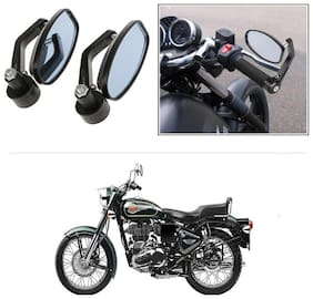 KunjZone Bike Handle Bar Rear View Mirror Rectangle Side Fancy Oval Mirror Set of 2 Black Royal Enfield Twin spark