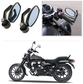 KunjZone Bike Handle Bar Rear View Mirror Rectangle Side Fancy Oval Mirror Set of 2 Black Bajaj Avenger 220 Street