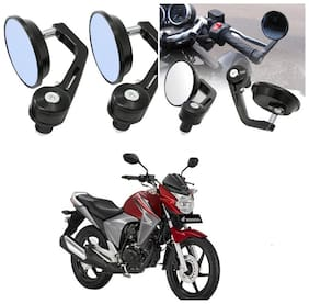 KunjZone Bike Handle Bar Rear View Mirror Rectangle Side Fancy Round Mirror Set of 2 Black Honda Dazzler