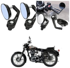KunjZone Bike Handle Bar Rear View Mirror Rectangle Side Fancy Round Mirror Set of 2 Black Royal Enfield Bullet 350