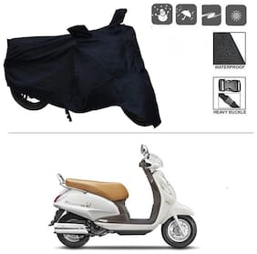 KunjZone Black Matty Bike Cover (Dust Proof, Scratch Proof, Mirror Pockets, Heavy Buckle) - Suzuki Access SE